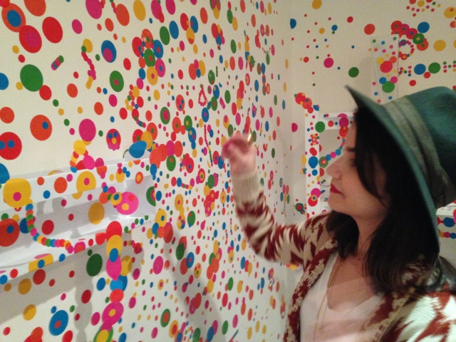 You can interact with the room by sticking colourful polka dots anywhere